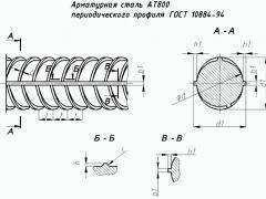 Арматура АТ800 чертеж